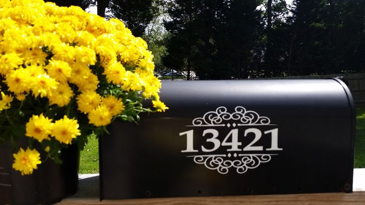 Mailbox Numbers Decal Set of 2 for both sides embellished FREE Shipping by TheElegantWall on Etsy https://www.etsy.com/listing/222521769/mailbox-numbers-decal-set-of-2-for-both