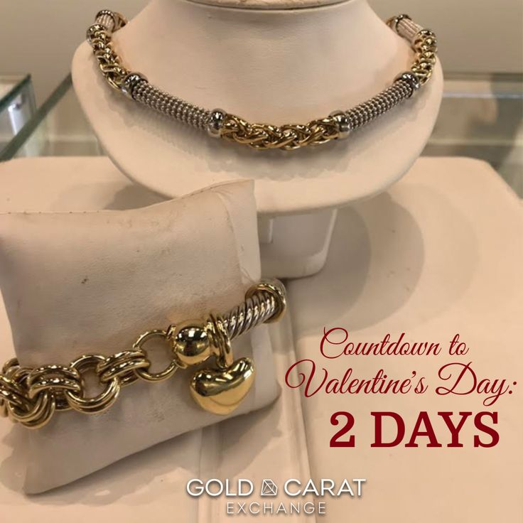 TWO DAYS until Valentine's Day, folks!! Check out these BEAUTIFUL, one of a kind pieces from our location at The Falls Mall in Miami! Both now at REDUCED PRICE!!  ✔ 14K Two-Tone Necklace Spiga/Popcorn Link Necklace ✔ 14K Charm Bracelet Two-Tone Bracelet Cable/Dbl Link  Don't miss out on these gorgeous pieces! Come visit us at The Falls Mall location is located at 8888 SW 136th St. Unit 435 Miami, FL!