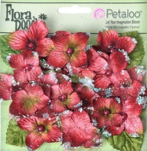 Petaloo Floral 22pc VELVET HYDRANGEAS 'Burgundy' Fabric Flowers 1296-002
