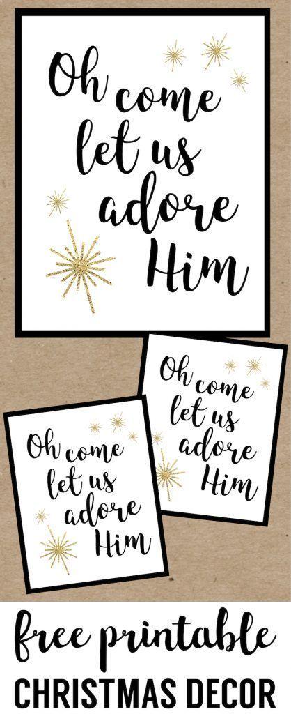 Oh Come Let Us Adore Him Printable Christmas Decor. Religious Christ centered Christmas printable sign. Easy Christmas decorations printable sign. #papertraildesign #Christmasprintable #DIYChristmas