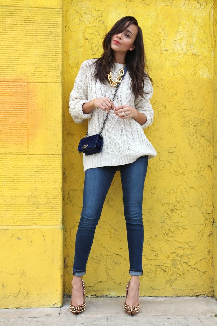Ashley Madekwe style 2012, fisherman sweater, skinny jeans