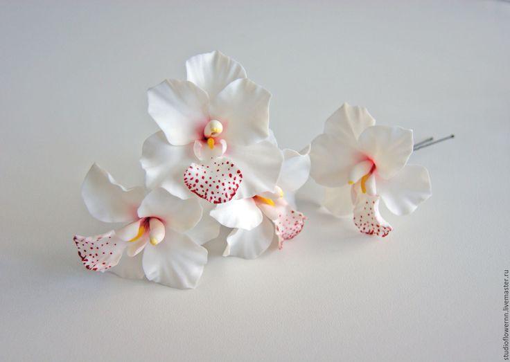 Купить Шпильки для волос белые орхидеи - белый, орхидея, свадьба, невеста, шпильки с цветами