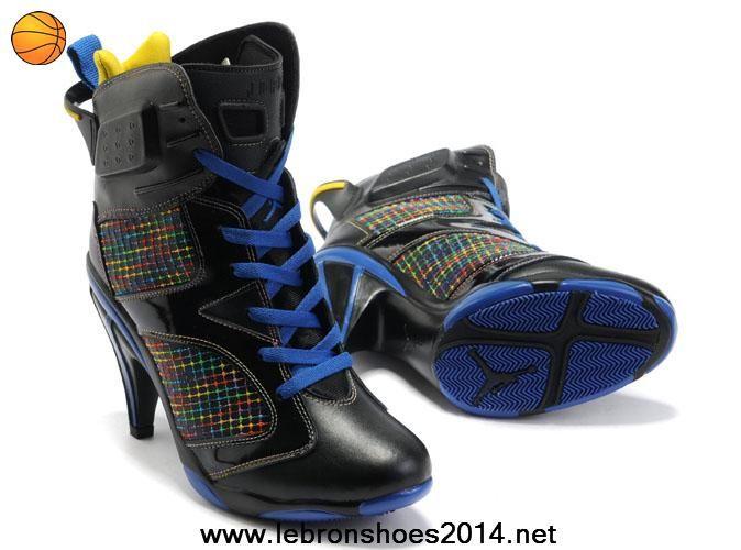 Cheap Women Air Jordan 6 VI High Heels Black Blue