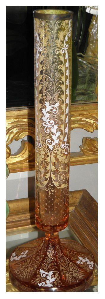 Antique Moser Enamel Decorated Glass Vase