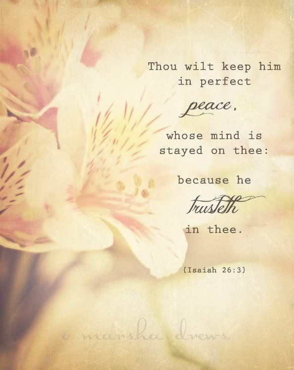 isaiah 26:3 Tú guardarás en completa paz a aquel cuyo pensamiento en ti persevera; porque en ti ha confiado.