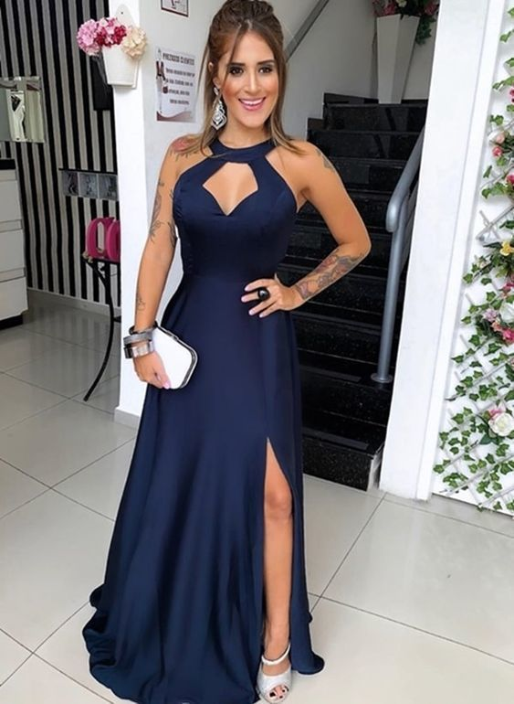 Navy Blue Floor Length Evening Dress, Long Prom Dress with Slit, Formal Gown