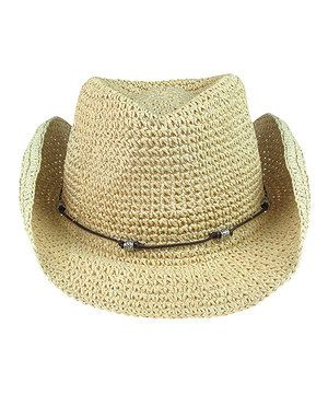 Another great find on #zulily! Capelli New York Light Beige Faux Leather Crochet Cowboy Hat by Capelli New York #zulilyfinds