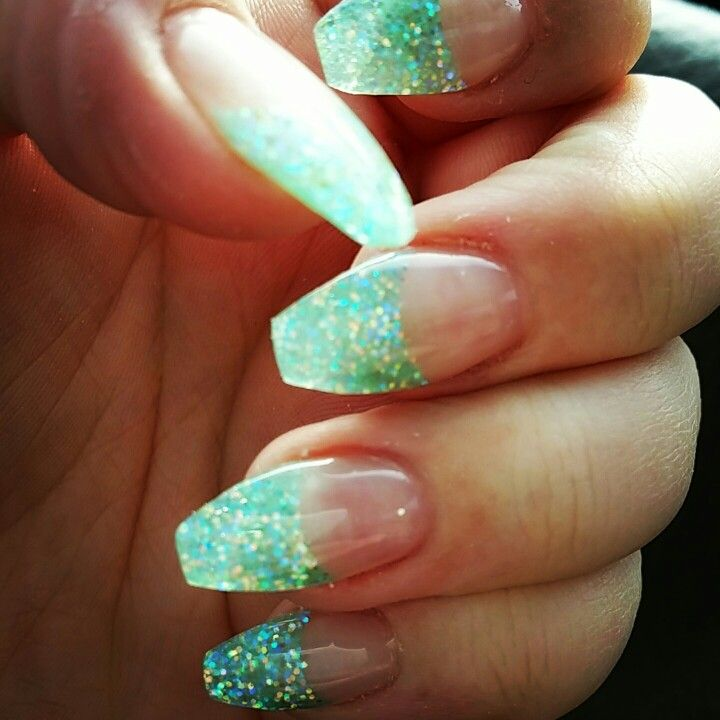 Little Mermaid Nails: Glitter Little Mermaid Nails... Gel Nails. Coffin Nails