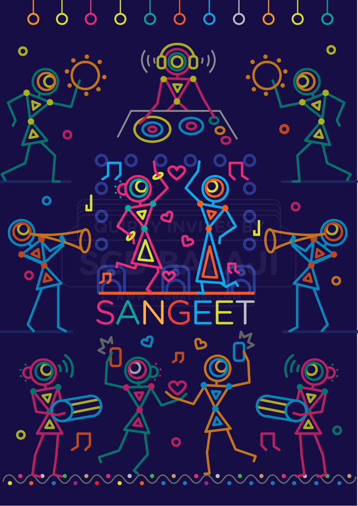 Sangeet Night Invitation Illustration and Design. Indian Wedding Invitation Suite Illustrated and Designed by www.scdbalaji.com, Indian Illustrator. Invite Illustration Style inspired by Ancient Indian Iconography found in Warli, Folk Art of India.