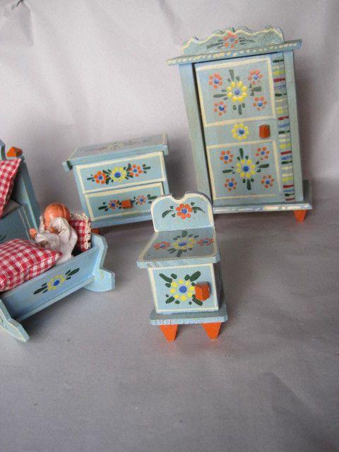 Konvolut Schlafzimmermöbel Bauernmalerei wohl D. KUHN Puppenstube | eBay