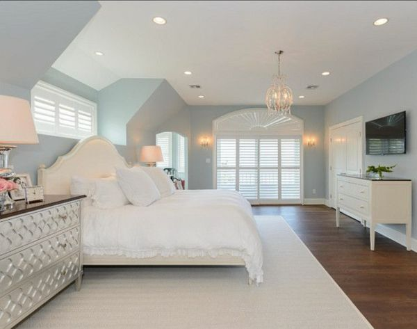 einrichtungsideen schlafzimmer bett teppichboden wandfarbe blau