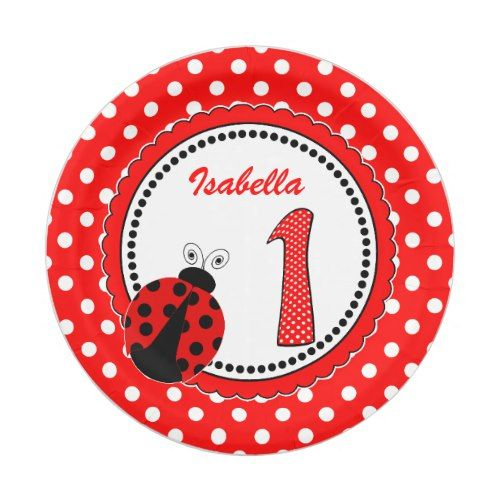 Cute Ladybugs 1st Birthday Party - Red White Paper Plate