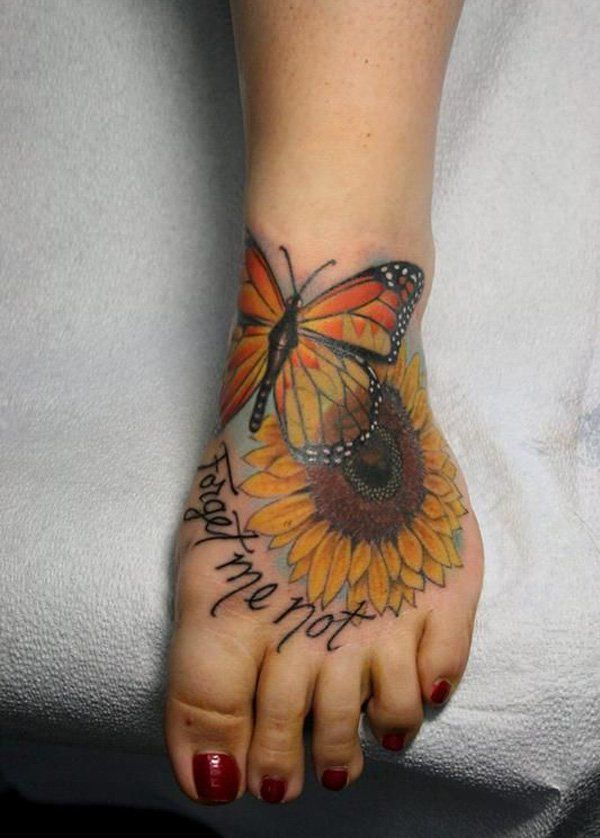 sunflower and butterfly tattoo - 45 Inspirational Sunflower Tattoos | Art and Design