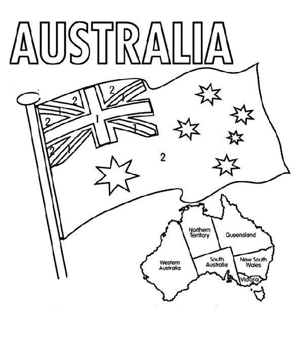 The Australian Flag Flying Day Coloring  For Kids