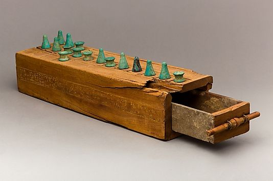 Wooden board game called Senet  Egyptian, New Kingdom, 18th dynasty, 1550 - 1295 BC.   Source: Metropolitan Museum