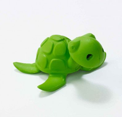 """Sea creatures star in splashy adventures""""and verbal skills develop""""when kids play with Bathtub Pals. Made from natural rubber, this fun Sea Turtle character bubbles when submerged and drains easily after playtime in the bath, beach or pool. Dishwasher safe _ top rack preferably. Recommended for ages 2+."""