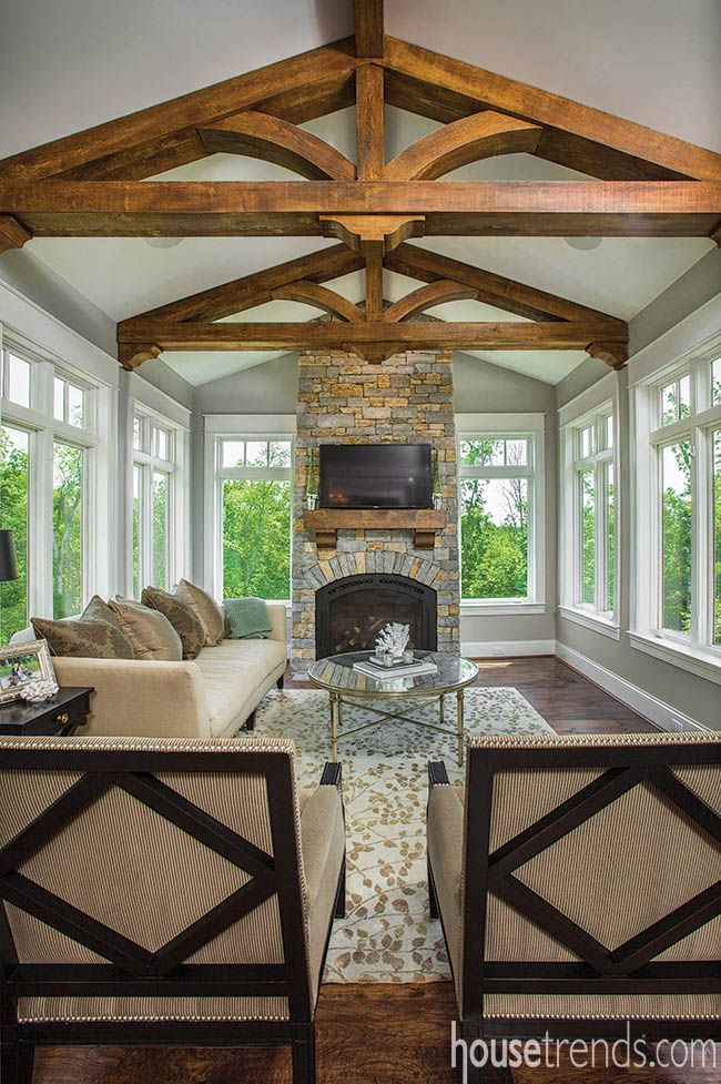 A hearth makes this sun room as warm as it is cheery. @housetrends