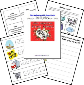Mike Mulligan and His Steam Shovel Unit Study and Lapbook Printables from Homeschool Share