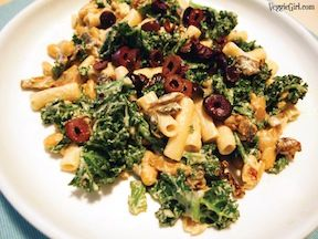 pasta greens and beans with creamy cashew sauce by dianne wenz from veggiegirl - skip the oil, use whole wheat or bean pasta, I skip the olives (too salty).