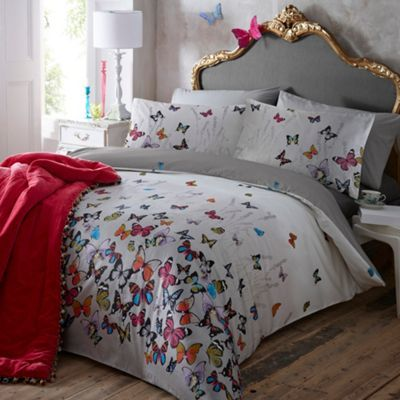 Light grey 'Butterflies' bedding set at debenhams.com