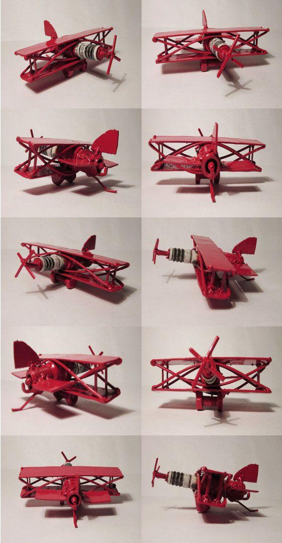 SALE Metal Sculpture Spark Plug Bi Plane Re purposed