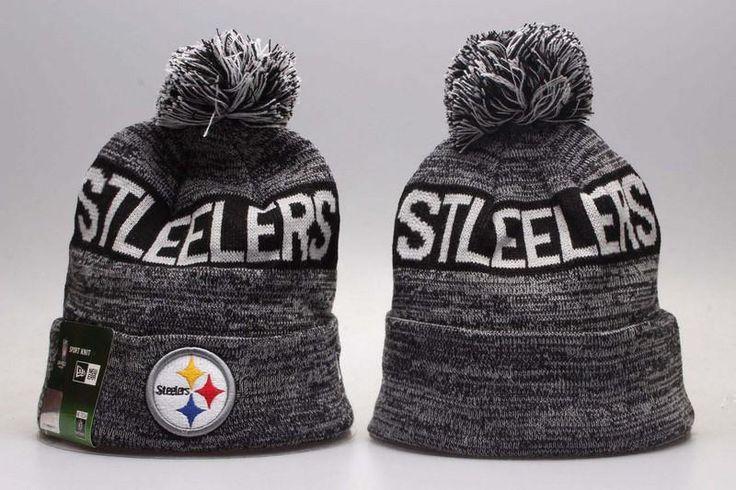 Men's / Women's Pittsburgh Steelers New Era NFL Sideline Sports Knit Pom Pom Beanie Hat - Grey / Black