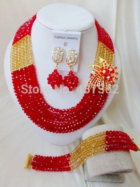 Горячие Продажи Красного Золота Шампанского Кристалл ожерелья костюма ювелирные нигерийский свадьбы африканские бусы комплект ювелирных изделий ABC533