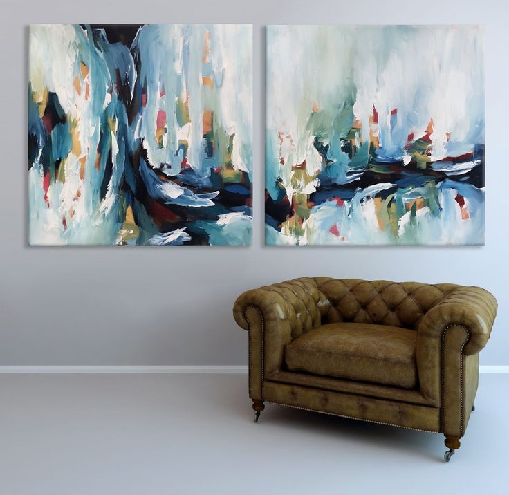 Omar obaid com blue abstract painting large wall art daybreak 2 diptych