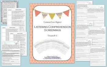 LISTENING COMPREHENSION SCREENINGS K-5 and there is 6-8!