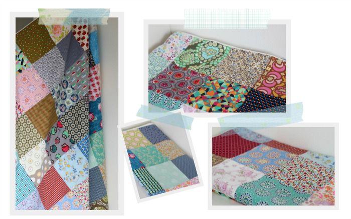 lapjes deken met allemaal verschillende stofjes