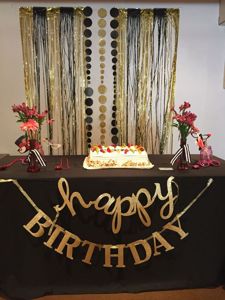 Gold And Black Backdrop Gold Birthday Party 70th Birthday