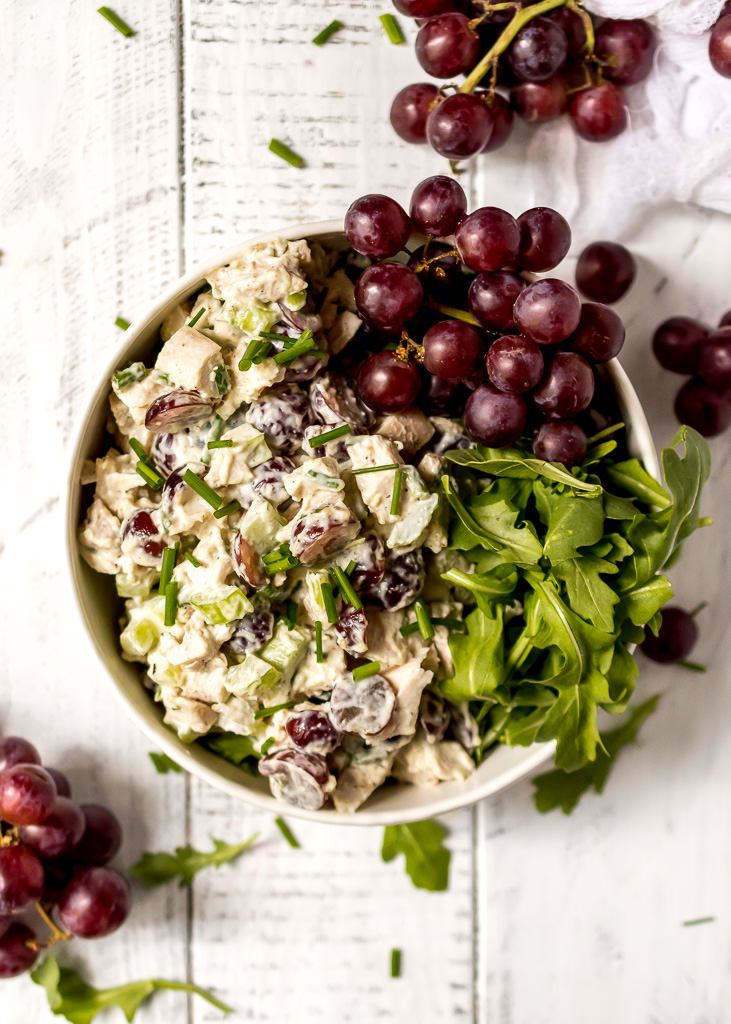 Lunch does NOT have to be boring! ThisChicken Salad with Grapes and Chives takes the standard chicken salad sandwich to the next level. Bursting with flavor, this chicken salad is great on salads, wraps or sandwiches. This is a Whole30 and Paleo compliant recipe and great for a meal prep idea. #paleorecipes #whole30recipes #lunchrecipes #mealprep #chickensalad