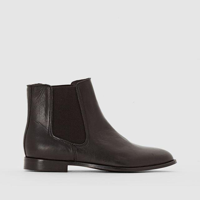 Boots en cuir élastiqués côtés R essentiel