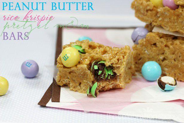 Peanut Butter Rice Krispies Pretzel M Bars ~ so yummy for an Easter treat!Peanut Butterr, Butter Rice, Peanut Butter Pretzels, Peanut Butter Ric, S'Mores Bar, Krispie Pretzels M Bar, Peanutbutter Crispy, Butter Ric Krispie Pretzels M, Rice Krispie