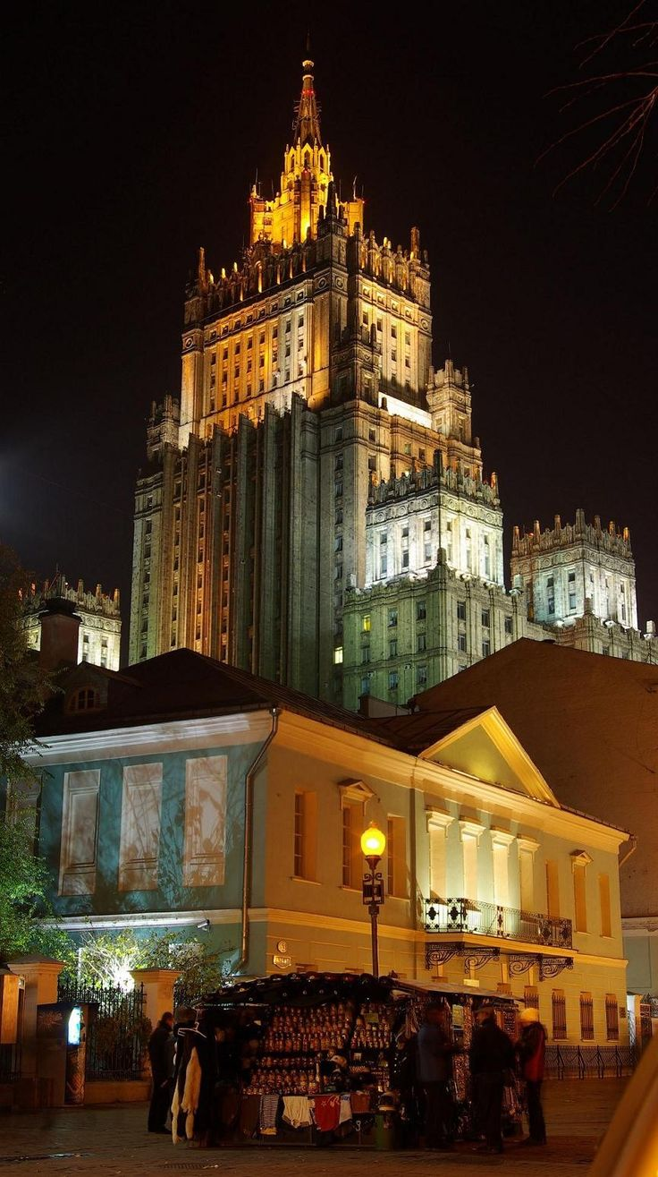 The Arbat, the eldest street of Moscow. It was first mentioned in the document from July 28, 1493. Photo:: One of 'seven sisters', one of the highest buildings of Moscow, where The Ministry of Foreign Affairs is situated, and the building of the 19th century where Russian poet Alexander Pushkin lived.