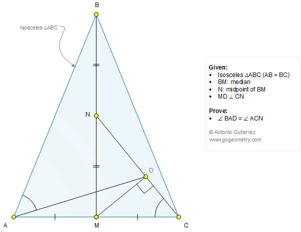 Geometry Problem 1272: Isosceles Triangle, Median, Midpoint, Perpendicular, 90 Degrees, Angles, Congruence