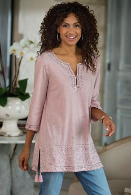 Kerala Tunic I - Womens Embroidered Tunic, Womens Sequin Tunic | Soft Surroundings
