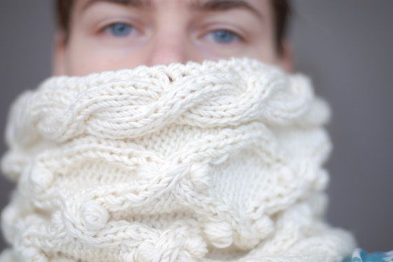 Luxury off-white hand knit cowl winter fashion accessory  by Muza