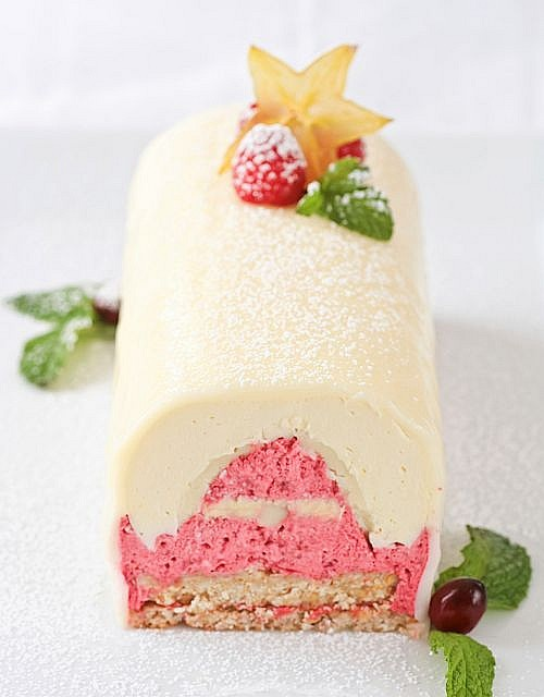 Meyer Lemon White Chocolate Raspberry Yule Log perfect for Christmas or any other occasion.