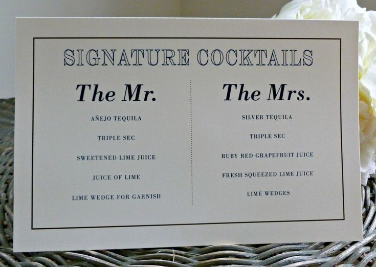 Signature Tails Wedding Signage Love The Names Of Drinks