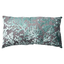 """Pillow with a flocked coral motif and eco-friendly fill.     Product: PillowConstruction Material: 100% Polyester cover and polyester fiber fillColor: LagunaFeatures:  Flocked coral velvet textureSewn seam closureReverses to solid backInsert included Dimensions:  12.5"""" x 23"""" Cleaning and Care: Spot clean only"""