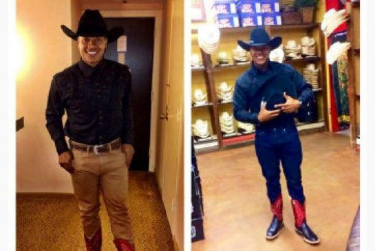 Blue Jay Marcus Stroman shows off Texas look between games in Houston. http://www.thestar.com/sports/bluejays/2014/08/02/blue_jay_stromans_hootie_look_draws_hoots.html