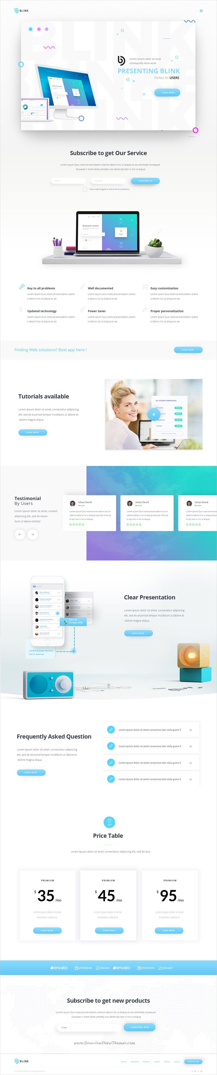 Blink is clean and modern design PSD template for #onepage software and #apps landing page #website download now..