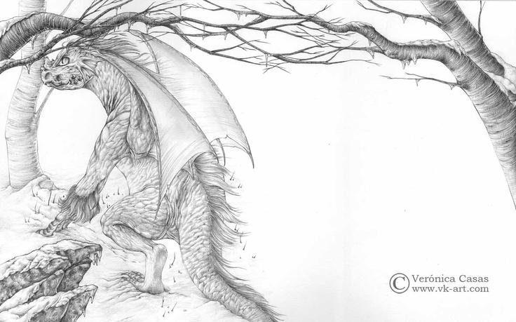 "Title: El dragón de hielo  Year: 2012  Size: 40 X 50 cm  Technique: Pencil    Illustration for ""The ice dragon"" (George R. R. Martin) published by Montena.    www.vk-art.com"