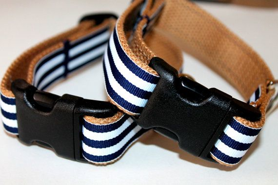 Nautical Dog Collars Navy Stripe Dog Collar and by cinchbelts