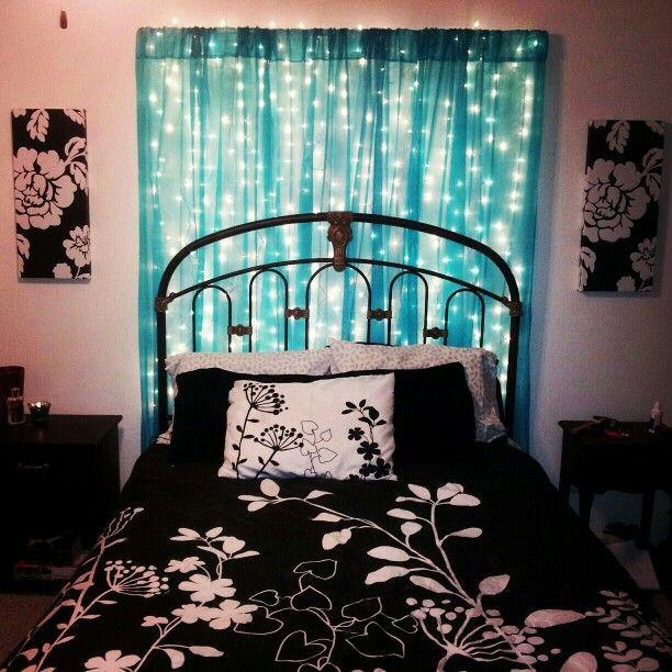 String Lights Behind Sheer Curtains Bedroom Pinterest