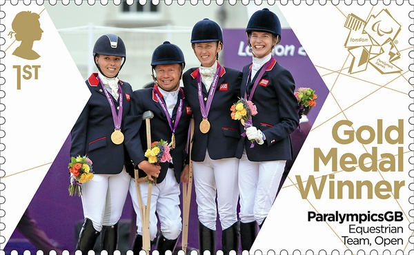 Paralympics Gold Medal Winner stamp - Equestrian Team, Open, Sophie Christiansen, Deb Criddle, Sophie Wells and Lee Pearson.