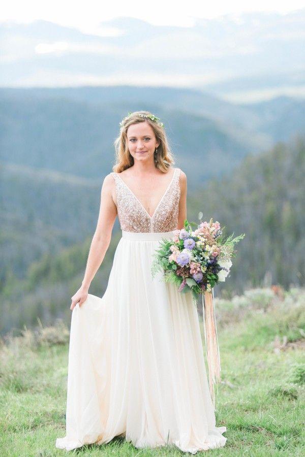 Spectacular Sexy V neckline Open Back Sequins Wedding Dress