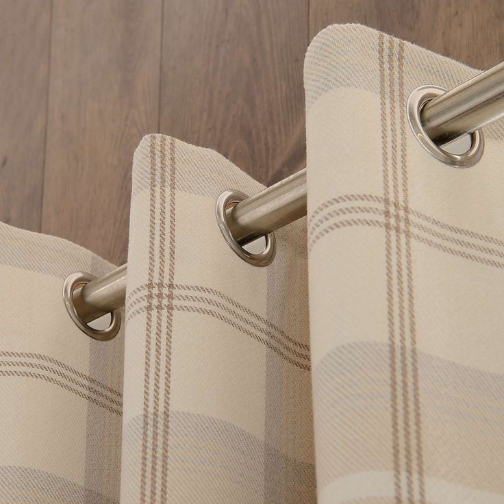 Natural Highland Check Lined Eyelet Curtains | Dunelm
