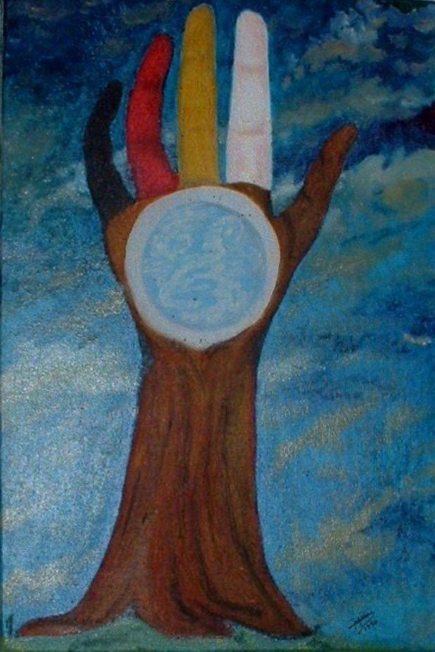 L'Arbre de la Tolérance. Cette petite toile a été faite pour la manifestation de «L'homme debout» dont le thème était La tolérance du 26 août 2006 à Treffort-Cuisiat dans l'Ain.  Elle représente les différentes couleurs des peuples vivant sur Terre ; elle nous rappelle aussi que nous faisons tous partie d'un seul et même arbre qui se nomme Humanité. Craies grasses et huile sur toile 22/33 cm 2006